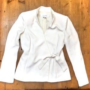 ZARA Blazer Jacket White Wrap Front Tie 4